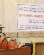 Record-holder climber Phurba Tenzing Sherpa hands over health post building constructed in Beding